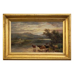 English Framed Oil Painting of Highland River Landscape by Andrew Lennox
