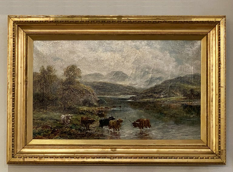 English Framed Oil Painting of River Landscape by Andrew Lennox In Good Condition For Sale In Austin, TX