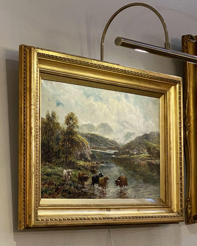 English Framed Oil Painting of River Landscape by Andrew Lennox For Sale 2