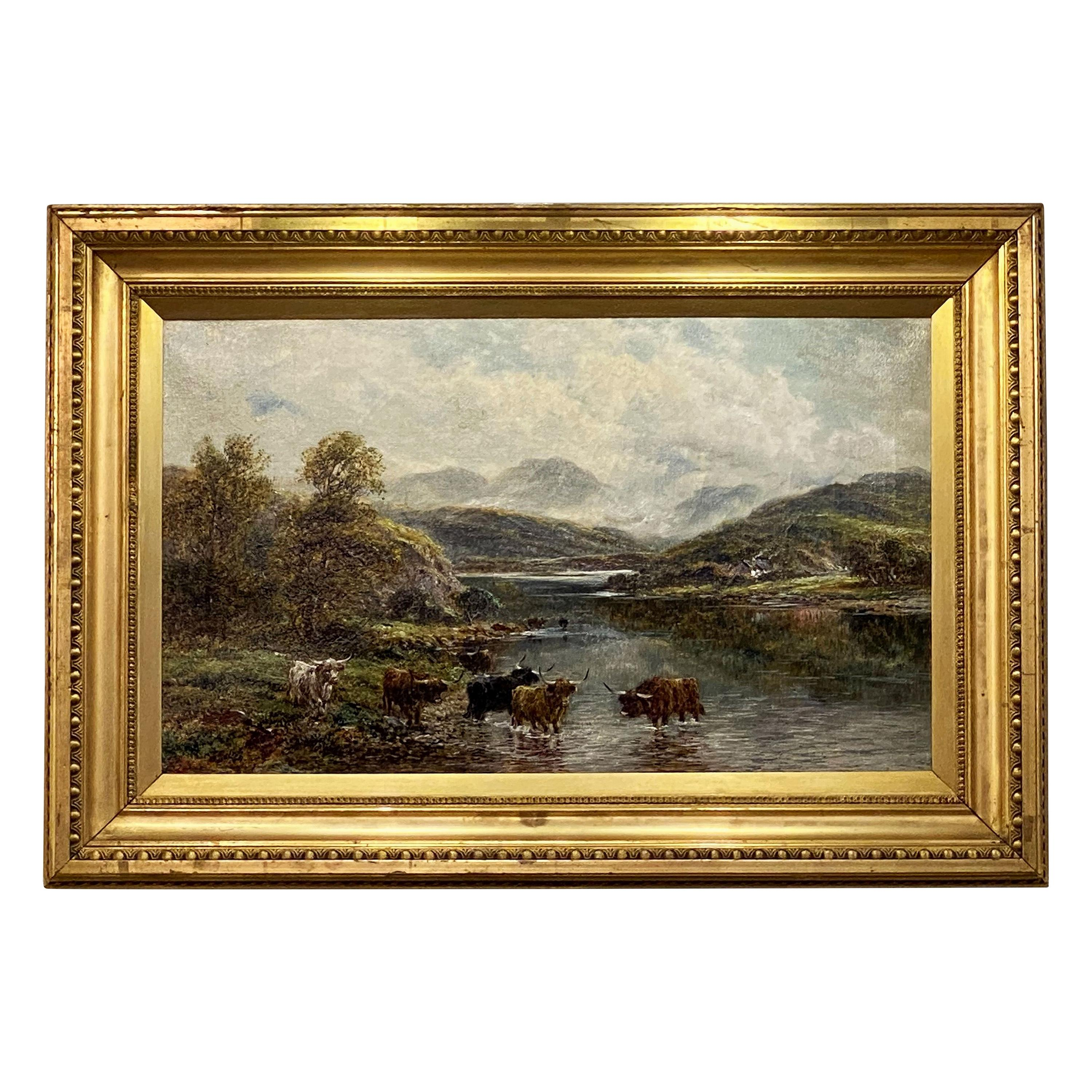 English Framed Oil Painting of River Landscape by Andrew Lennox