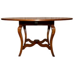 English Fruitwood Round Table on Pedestal