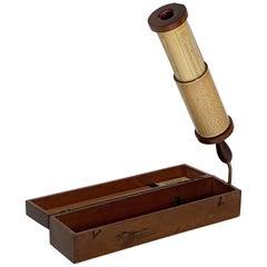 English Fuller Calculator with Original Box of Mahogany and Brass