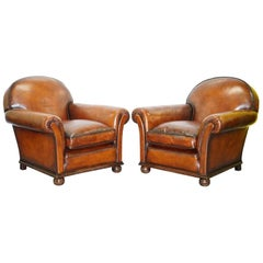 English Fully Restored Hand Dyed Victorian Whisky Brown Leather Armchairs, Pair