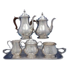 English Gadroon by Gorham Sterling Silver 5-Piece Coffee Tea Set with Plate Tray
