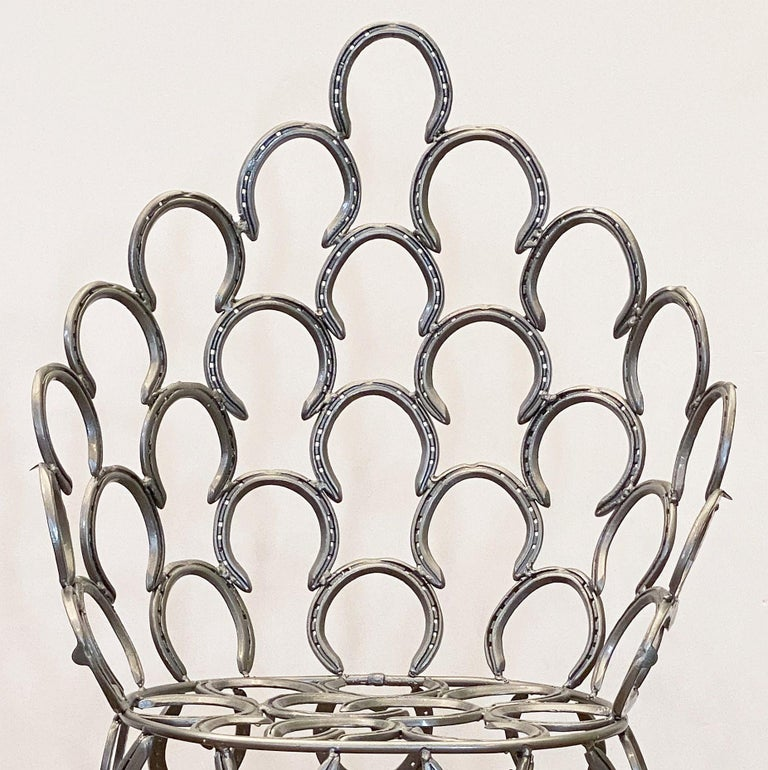 English Garden Set of Table and Two Chairs with a Horseshoe Design For Sale 8