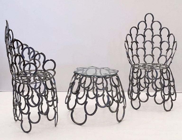 Folk Art English Garden Set of Table and Two Chairs with a Horseshoe Design For Sale