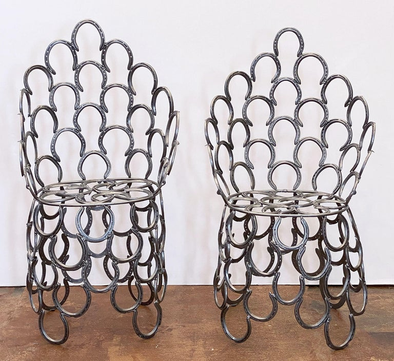 Powder-Coated English Garden Set of Table and Two Chairs with a Horseshoe Design For Sale