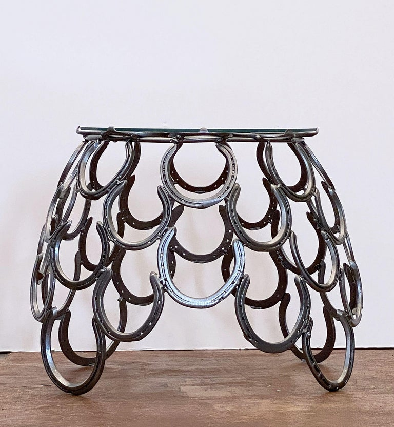 Paint English Garden Set of Table and Two Chairs with a Horseshoe Design For Sale