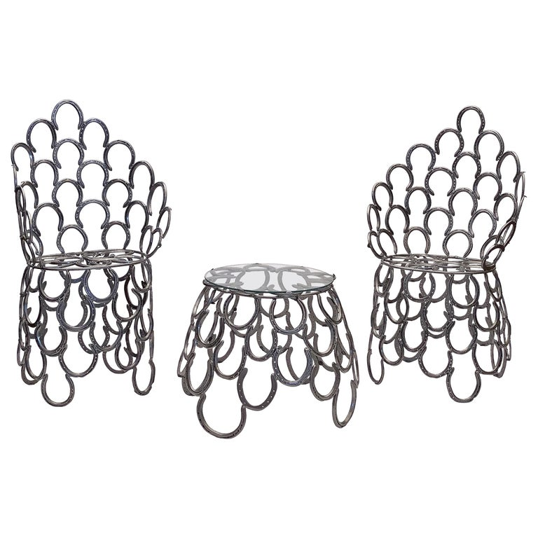 English Garden Set of Table and Two Chairs with a Horseshoe Design For Sale