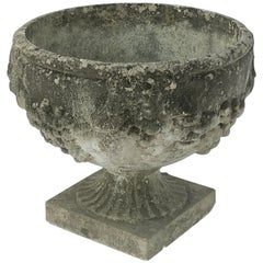 English Garden Stone Planter or Urn with Relief of Grapes