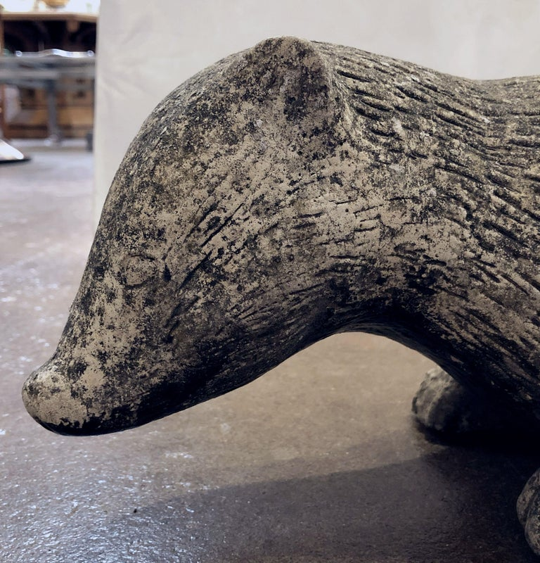 English Garden Stone Statue of a Badger For Sale 7