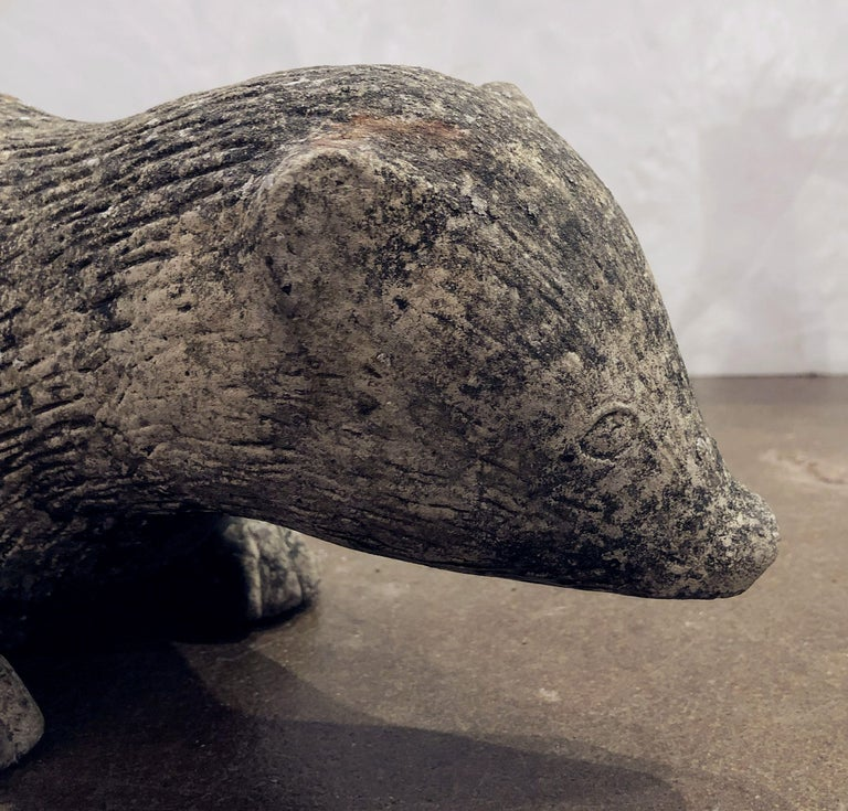 English Garden Stone Statue of a Badger For Sale 12