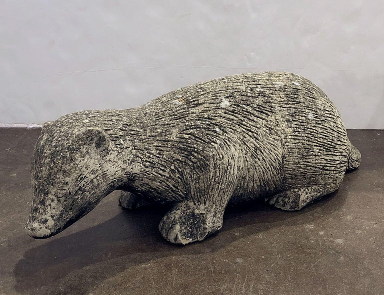 20th Century English Garden Stone Statue of a Badger For Sale