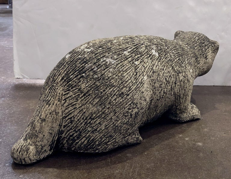 English Garden Stone Statue of a Badger For Sale 1