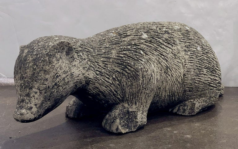 English Garden Stone Statue of a Badger For Sale 3