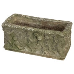 English Garden Stone Trough or Planter with Cherub Relief