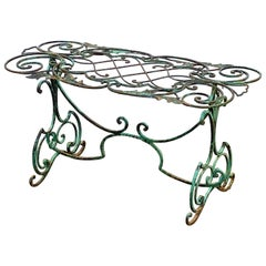 English Garden Table of Wrought Iron with Verdigris Painted Finish