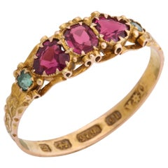 English Garnet and Emerald Five-Stone Ring, 1866