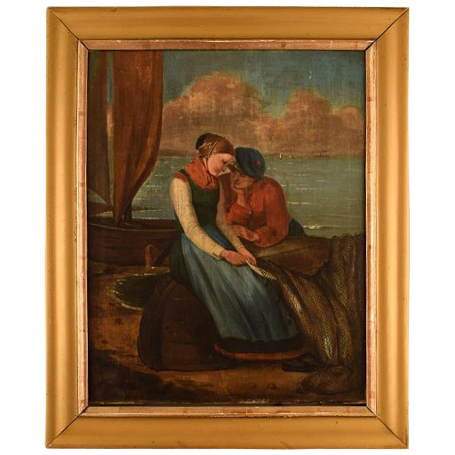 English Genre Painter, Romantic Scenery, Young Couple, Oil on Canvas