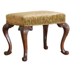 English George I Style Boldly Carved Walnut and Upholstered Stool