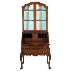 English George I Style Burl-Walnut Antique Bookcase Secretary Desk, 19th Century