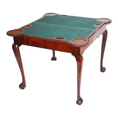 English George II Chippendale Mahogany Card Table Telescoping System for Opening