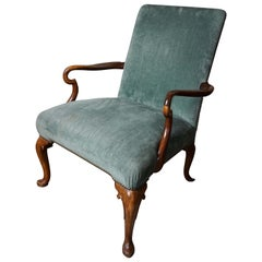 English George II Style Mahogany Open Armchair