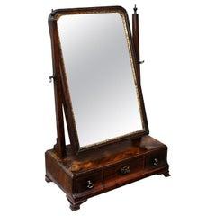 English George II Transitional Flame Mahogany Toilet Mirror, circa 1730