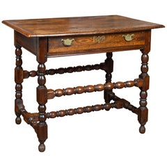 English George III 1800s Oak Side Table with Single Drawer and Bobbin Stretchers