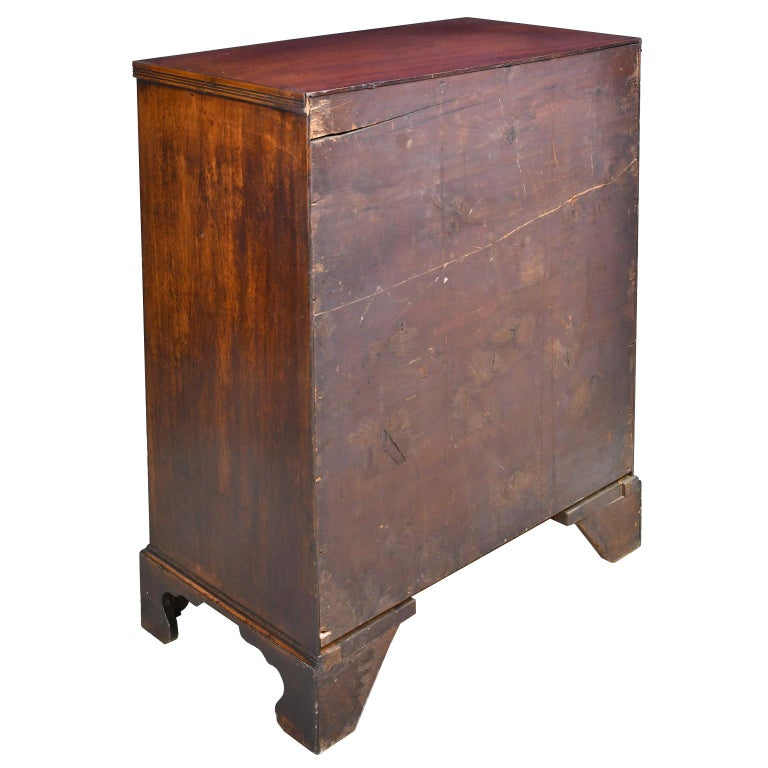 Brass English George III Bachelor's Chest of Drawers with Brushing Slide, circa 1775 For Sale
