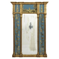 English George III Blue Eglomisé Antique Wall Mirror, circa 1790