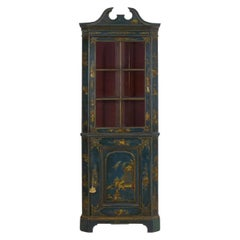 English George III Chippendale Blue Painted Chinoiserie Corner Cabinet Cupboard