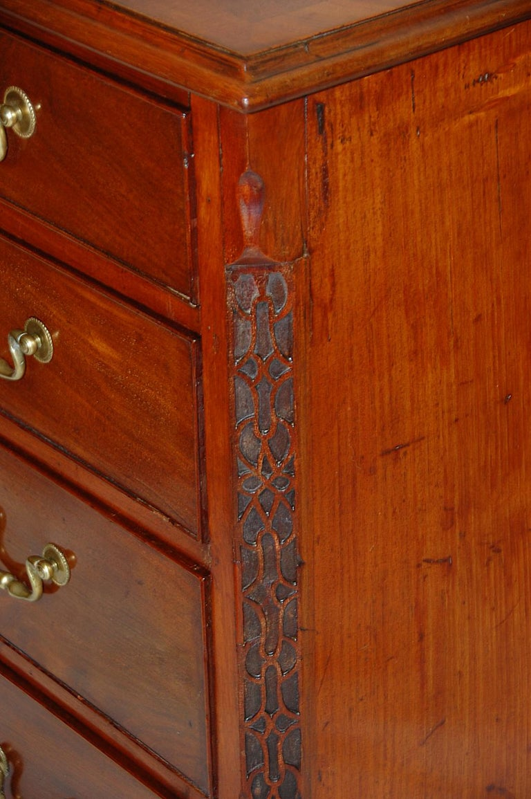 18th Century English George III Chippendale Mahogany Chest of Drawers Carved Blind Fretwork For Sale
