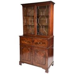 English George III Chippendale Secretaire Bookcase, circa 1780