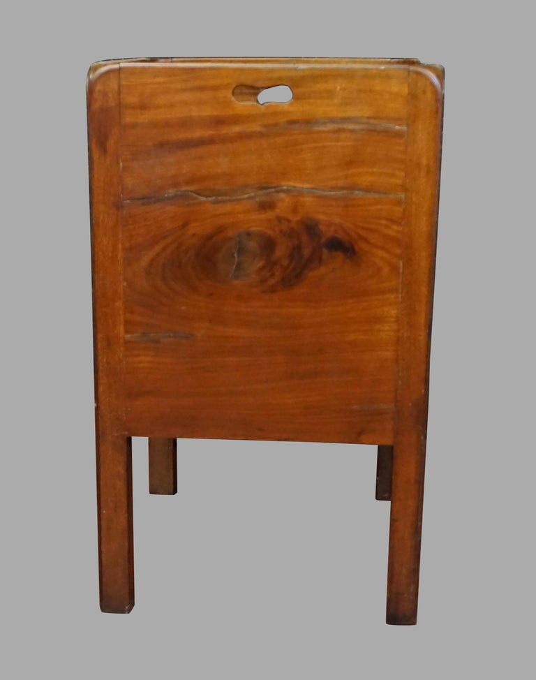 English George III Figured Mahogany Bedside Commode with Drawer For Sale 1