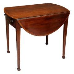 English George III Hepplewhite Period Mahogany Oval Pembroke Table, circa 1790