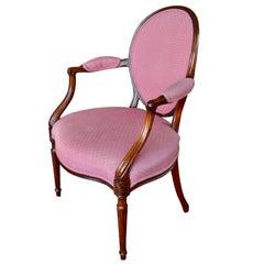 English George III Hepplewhite Style Oval-Backed Mahogany Armchair
