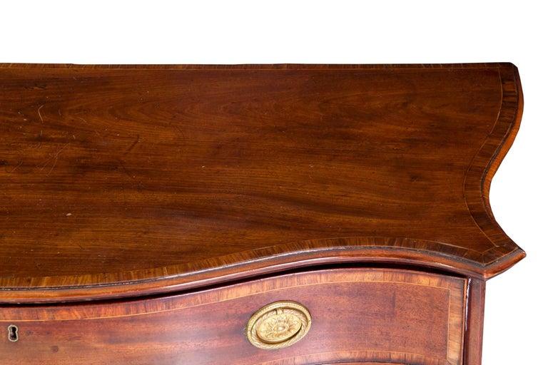 English George III Inlaid Mahogany Serpentine Secretary Chest of Drawers For Sale 1