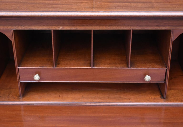 English George III Mahogany Breakfront Bookcase with Secretary For Sale 7