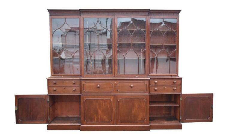 English George III Mahogany Breakfront Bookcase with Secretary For Sale 9