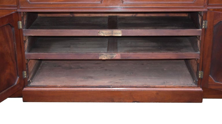 English George III Mahogany Breakfront Bookcase with Secretary For Sale 10