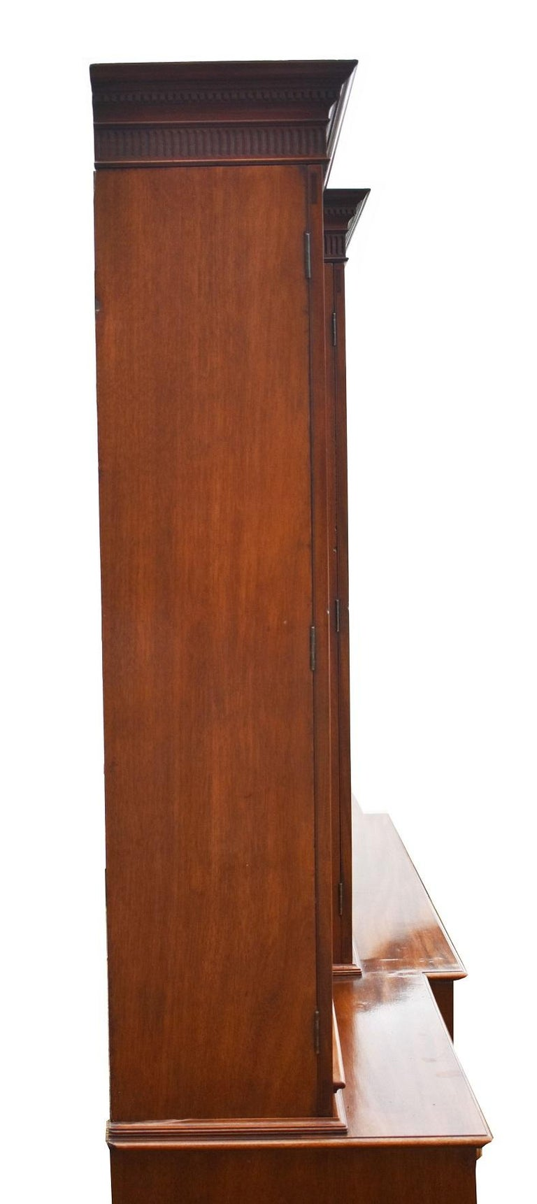 English George III Mahogany Breakfront Bookcase with Secretary For Sale 11