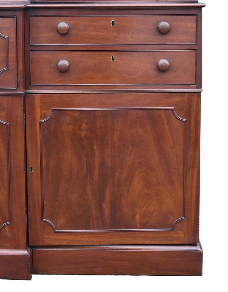 English George III Mahogany Breakfront Bookcase with Secretary For Sale 2