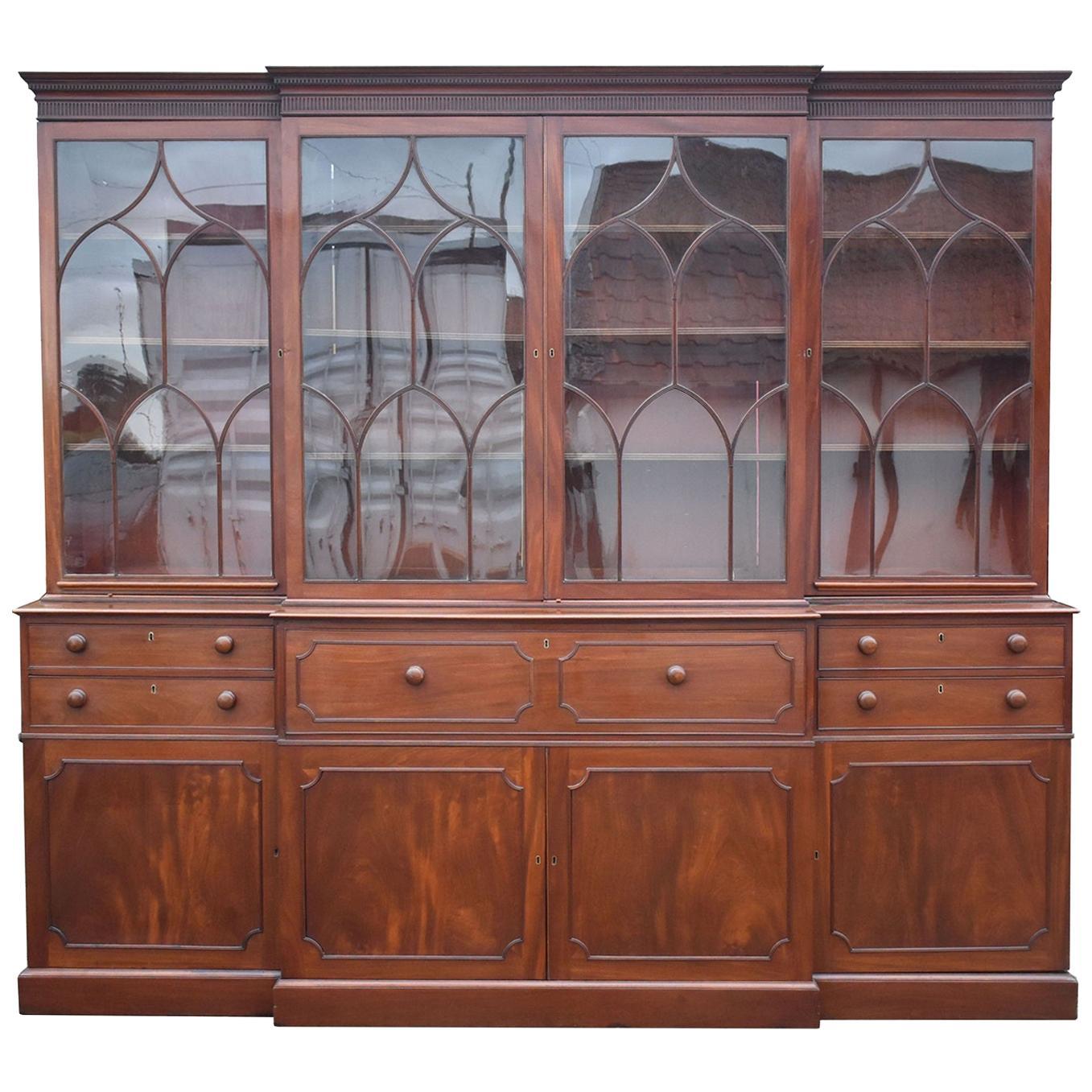 English George III Mahogany Breakfront Bookcase with Secretary