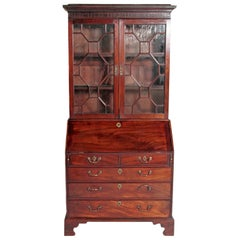 English George III Mahogany Bureau Bookcase or Secretary
