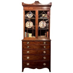 English George III Mahogany Secretary Bookcase with Original Brasses, circa 1790
