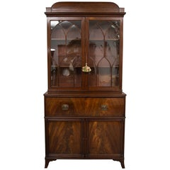 English George III Mahogany Secretary Bureau Bookcase