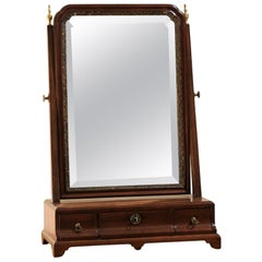 English George III Mahogany Shaving Mirror, Late 18th Century