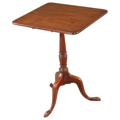 English George III Mahogany Tilt-Top Wine Table with Square Top, circa 1790