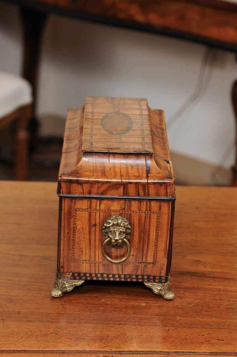 English George III Olive Wood and Shell Inlaid Letter Box, Early 19th Century For Sale 7